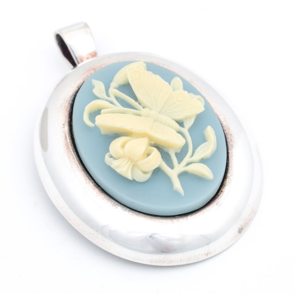 Sterling Silver Milor Cameo Convertible Brooch