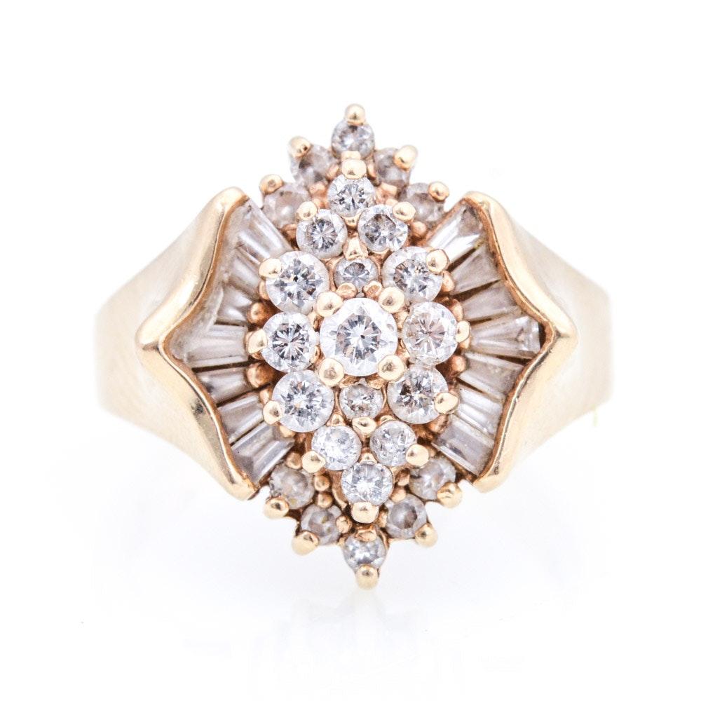 14K Yellow Gold 1.40 CTW Diamond Cluster Ring