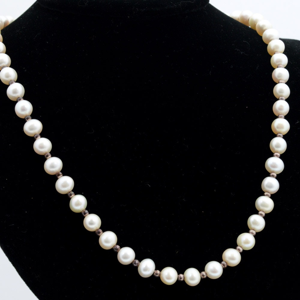 Sterling Silver and Cultured Freshwater Pearl Necklace