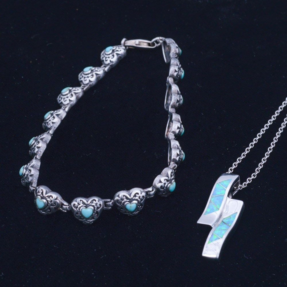 Sterling Silver with Imitation Gemstone Necklace and Bracelet Pairing