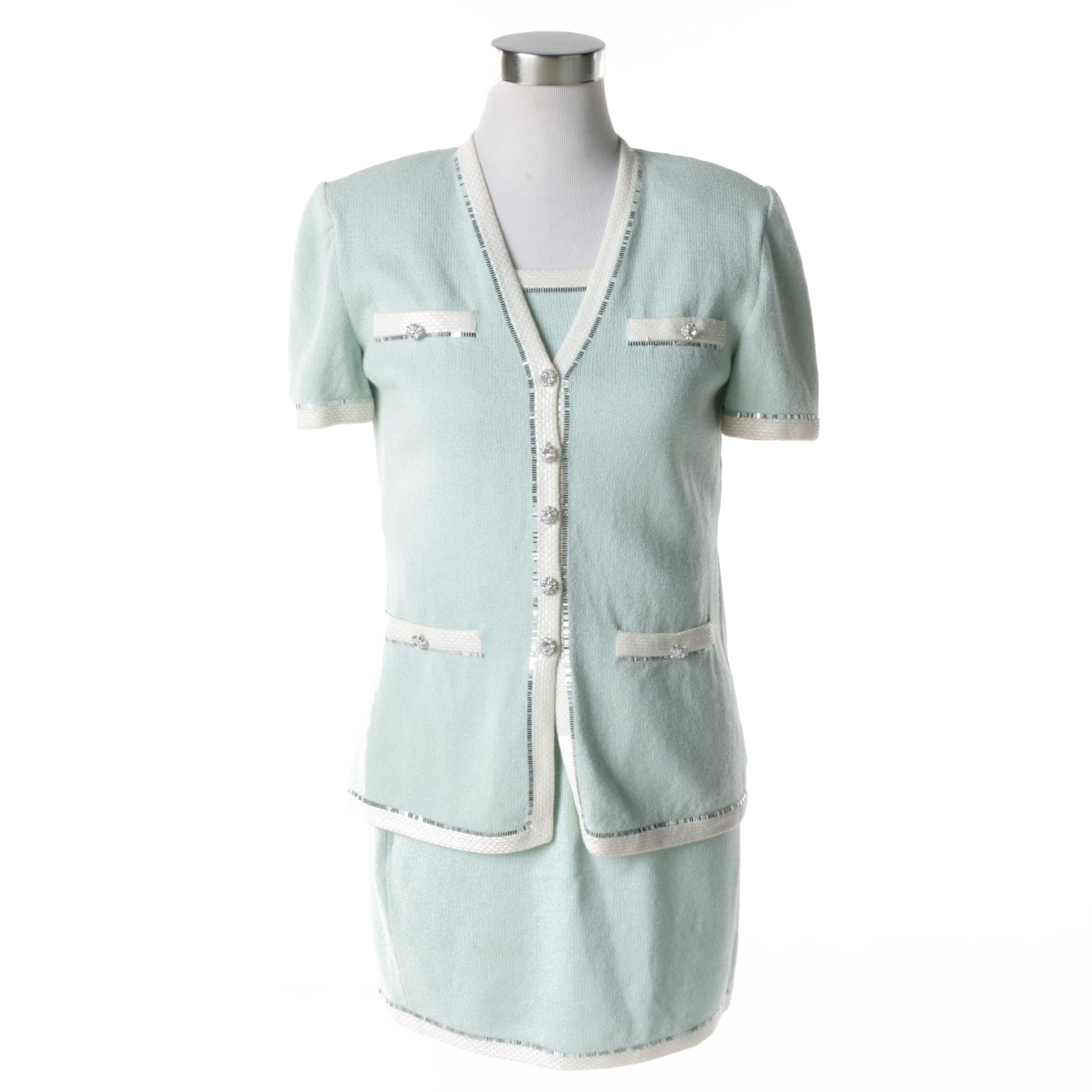 St. John Evening Short Sleeve Knit Skirt Suit