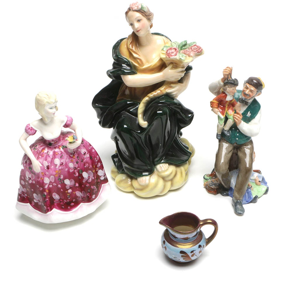 "Royal Doulton ""The Puppetmaker"" and Coalport Figurines"