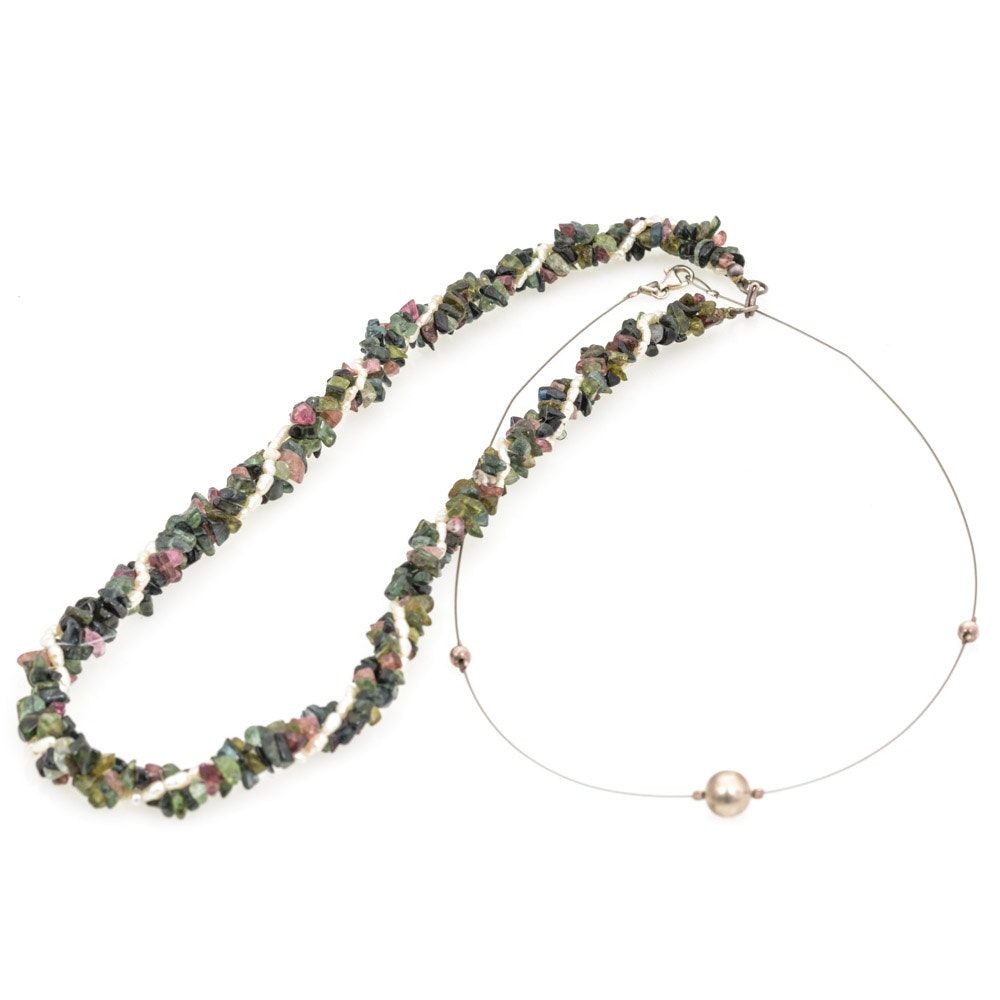 Sterling SIlver Tourmaline and Cultured Freshwater Pearl Necklaces