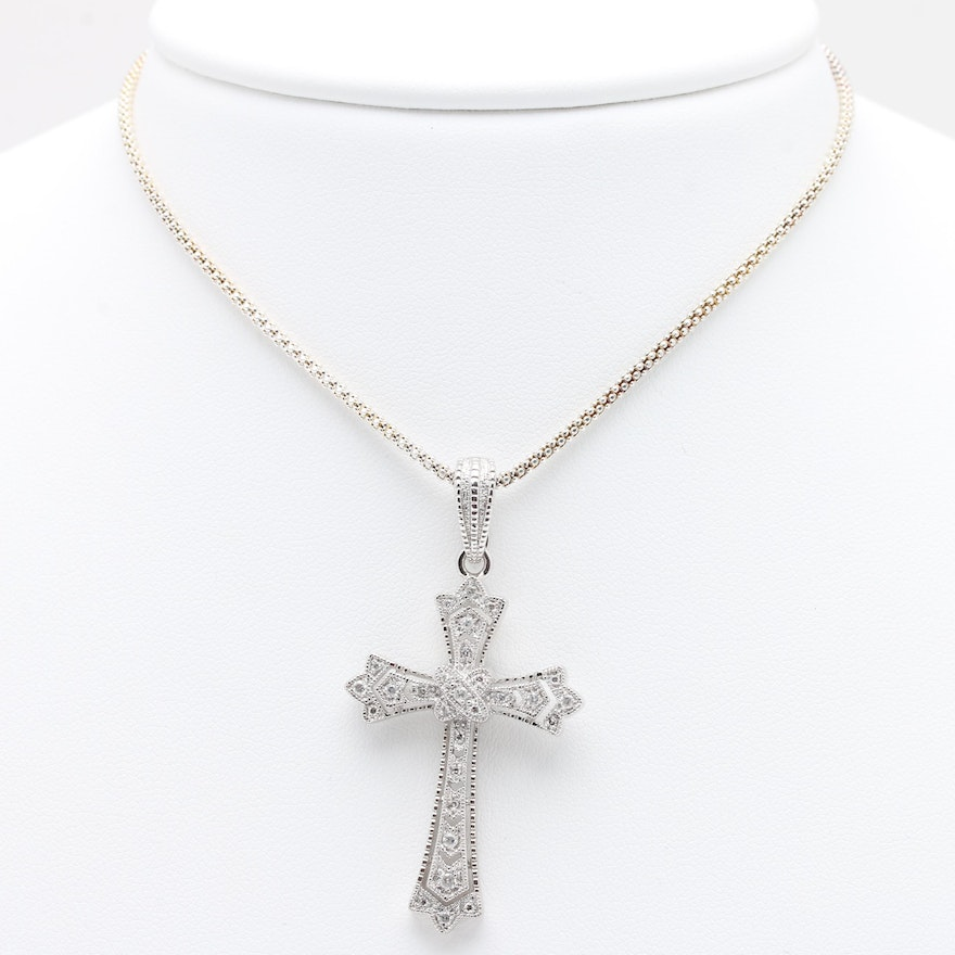 necklace cross pd kay diamond round ct sterling cut mv kaystore chains silver en tw