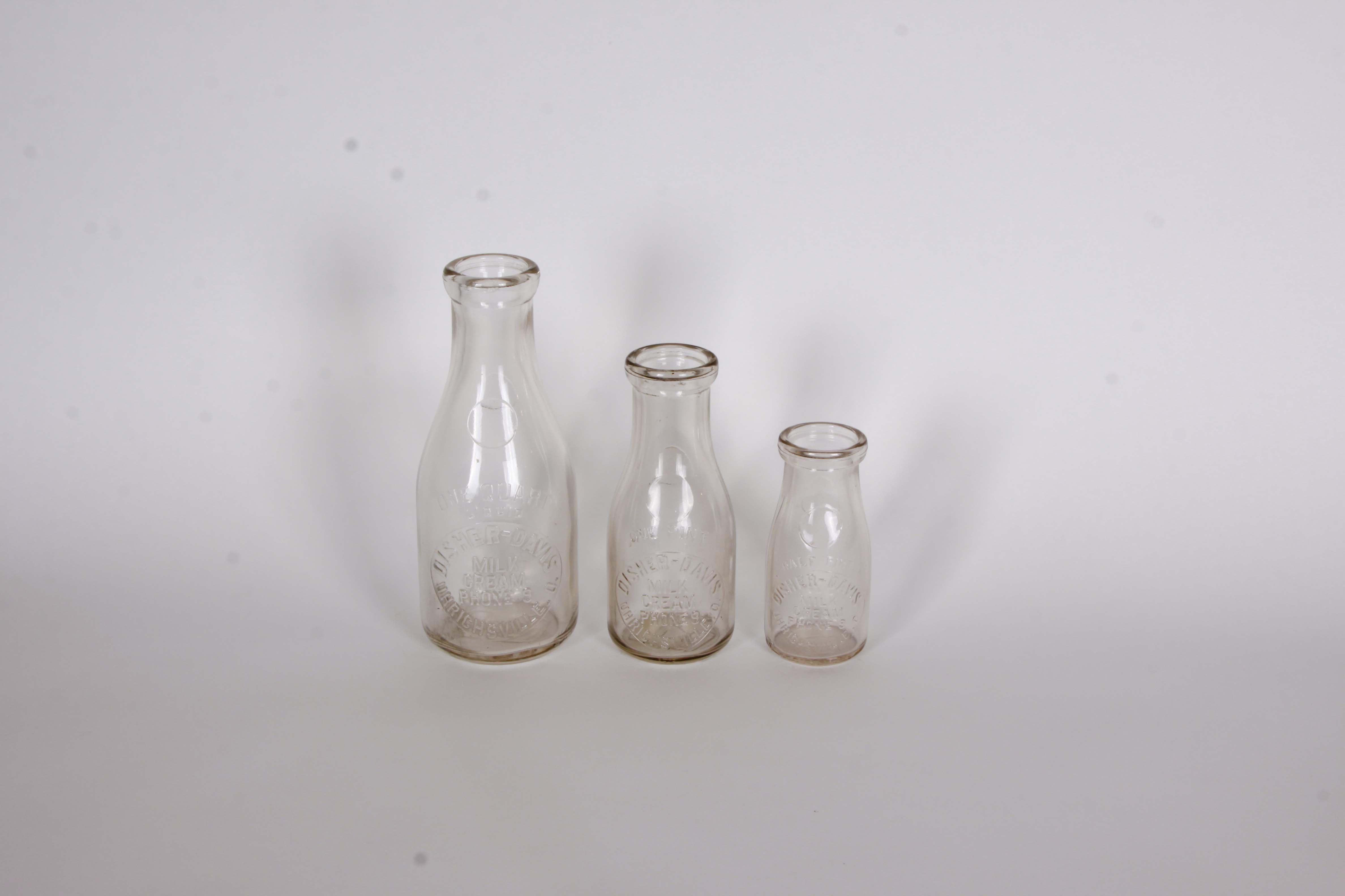 Disher Davis Milk Bottles from Urichsville, OH