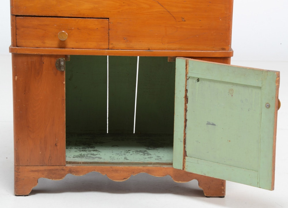Antique Pine Lift Top Dry Sink Ebth