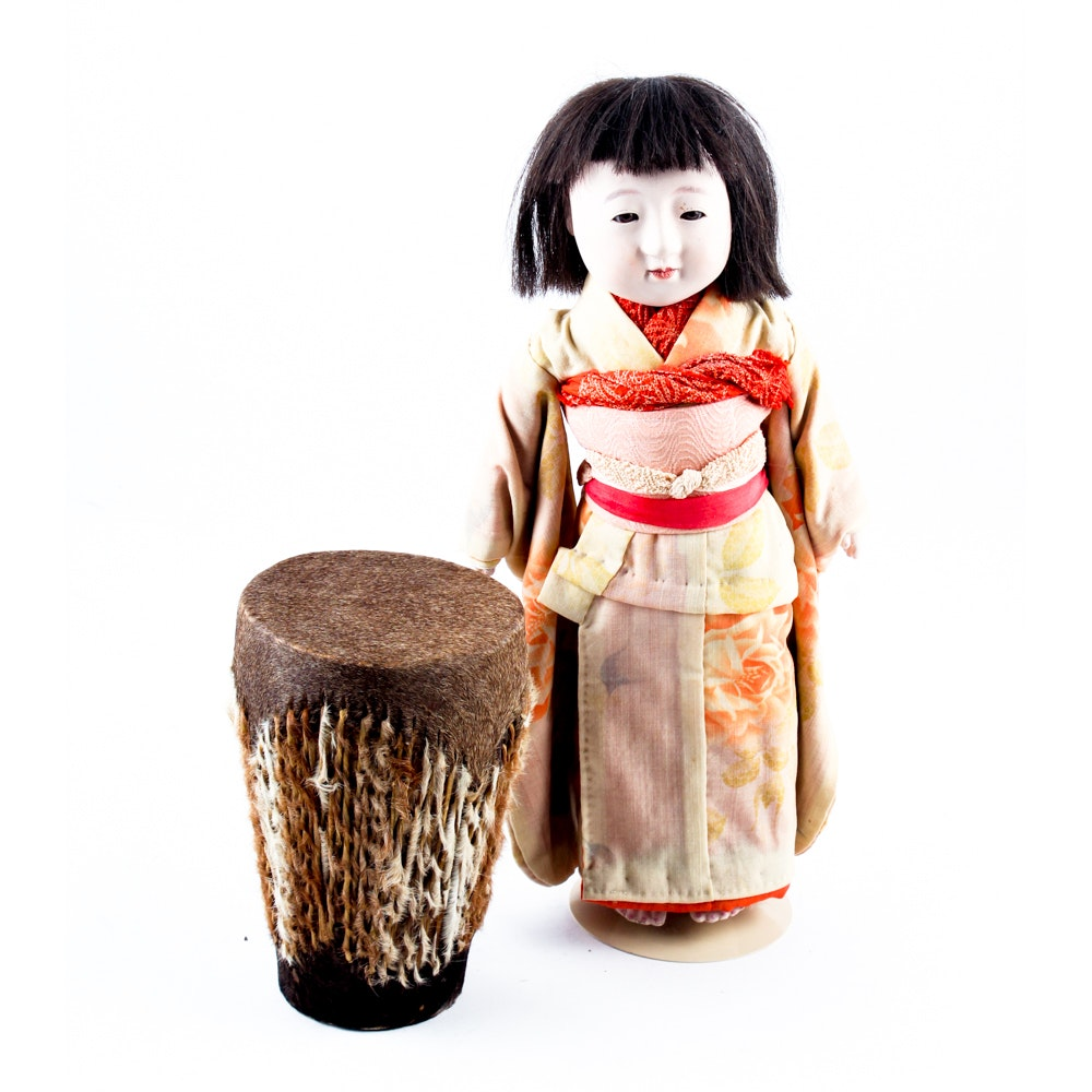 Japanese Doll and Fur Drum