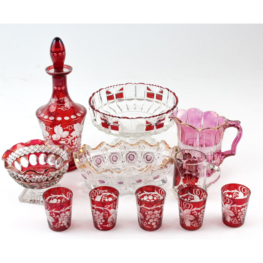 Antique and Vintage Glass including EAPG and Bohemian Glass Collection