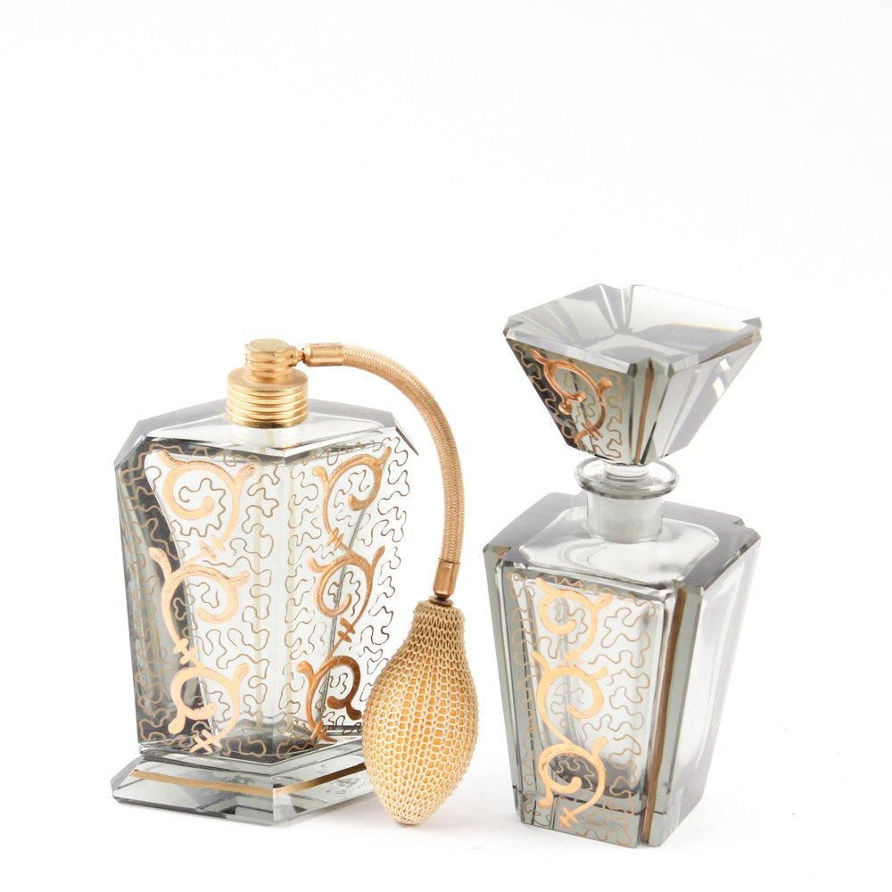 Art Deco Irving W. Rice Hand-Cut Glass Perfume Bottles