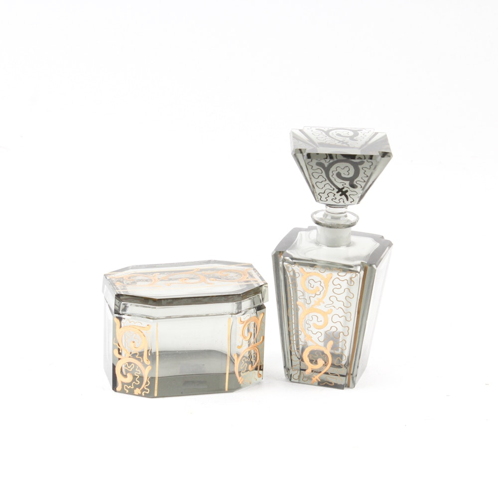 Art Deco Irving W. Rice Hand-Cut Glass Perfume Bottle and Lidded Box