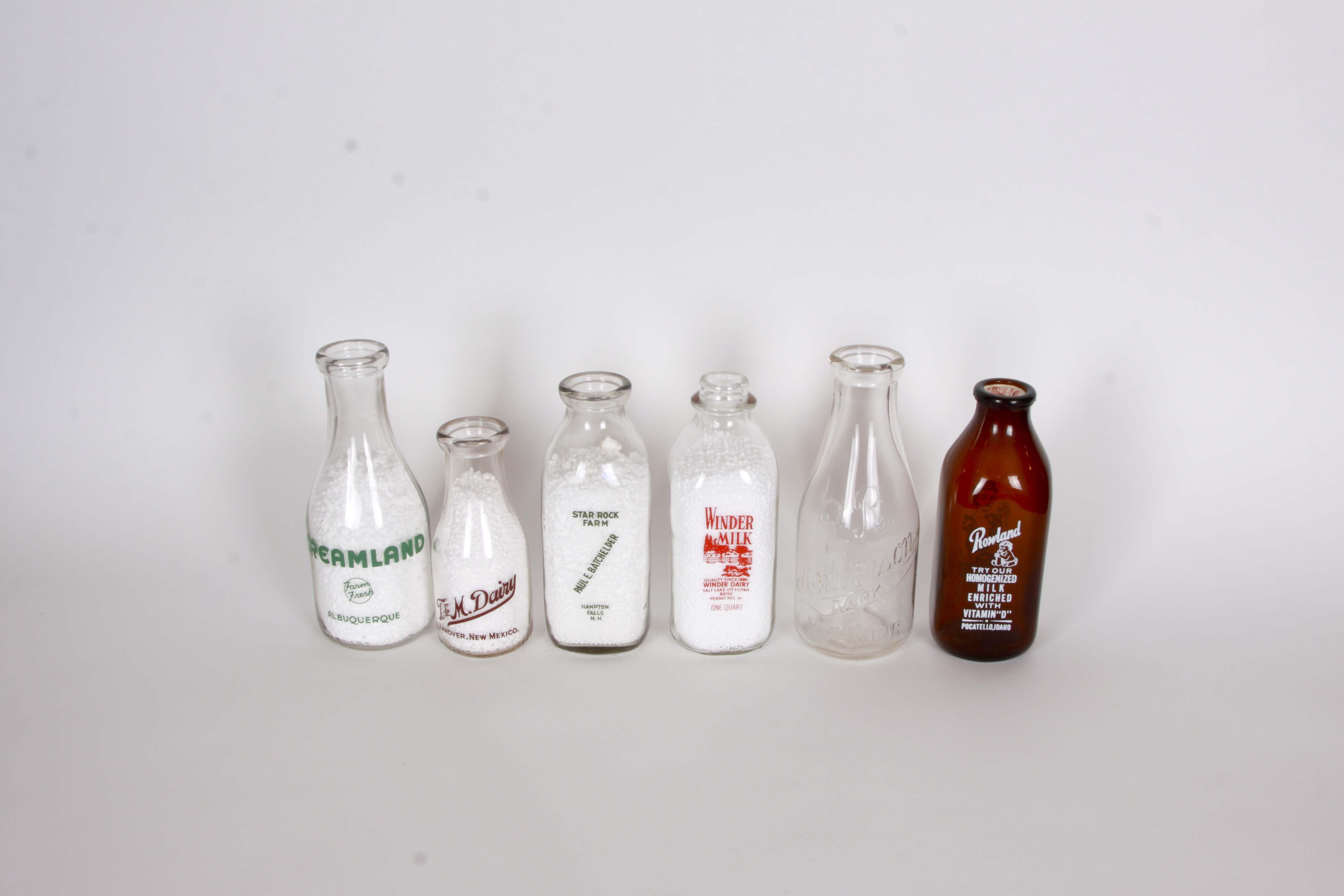 New Mexico, New Hampshire, Utah, Idaho and Wyoming Dairy Bottles