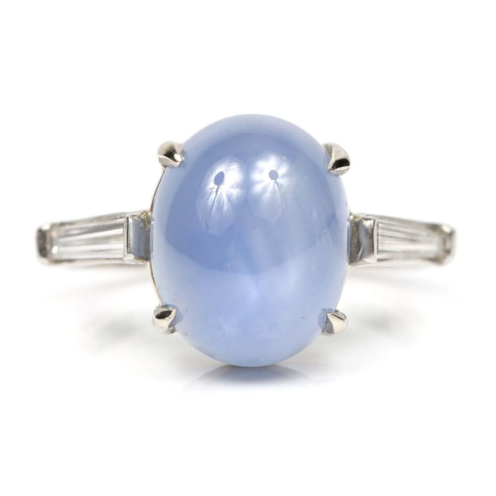 Platinum Star Sapphire Cabochon and Diamond Ring