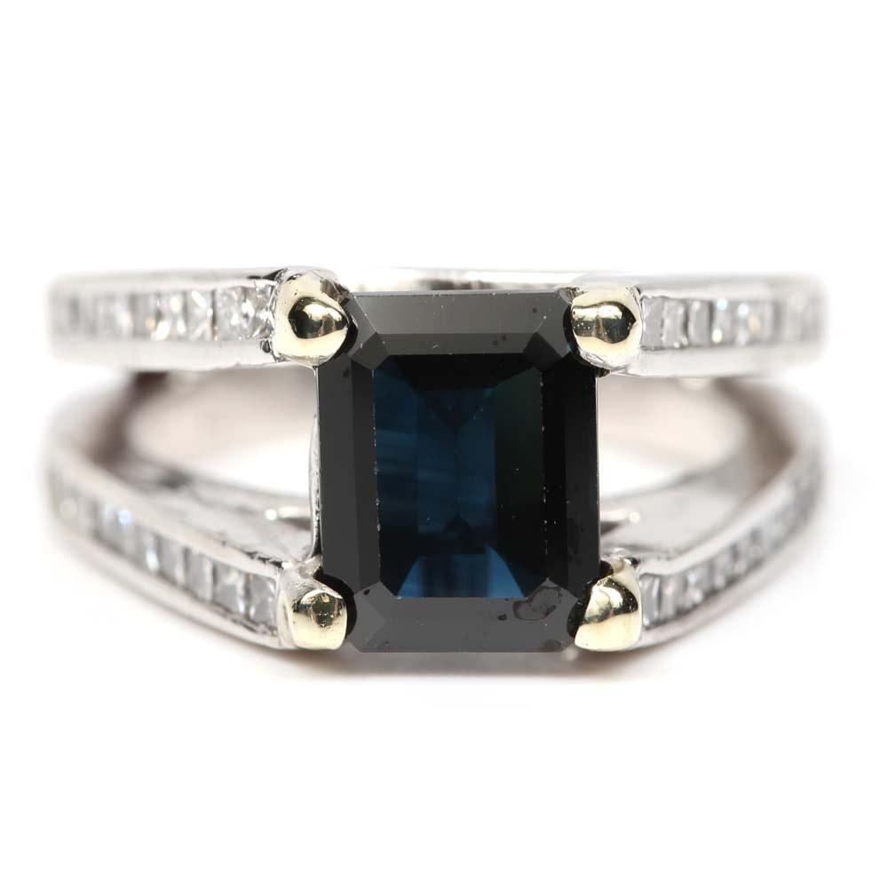 Platinum 2.56 CT Sapphire and Diamond Ring