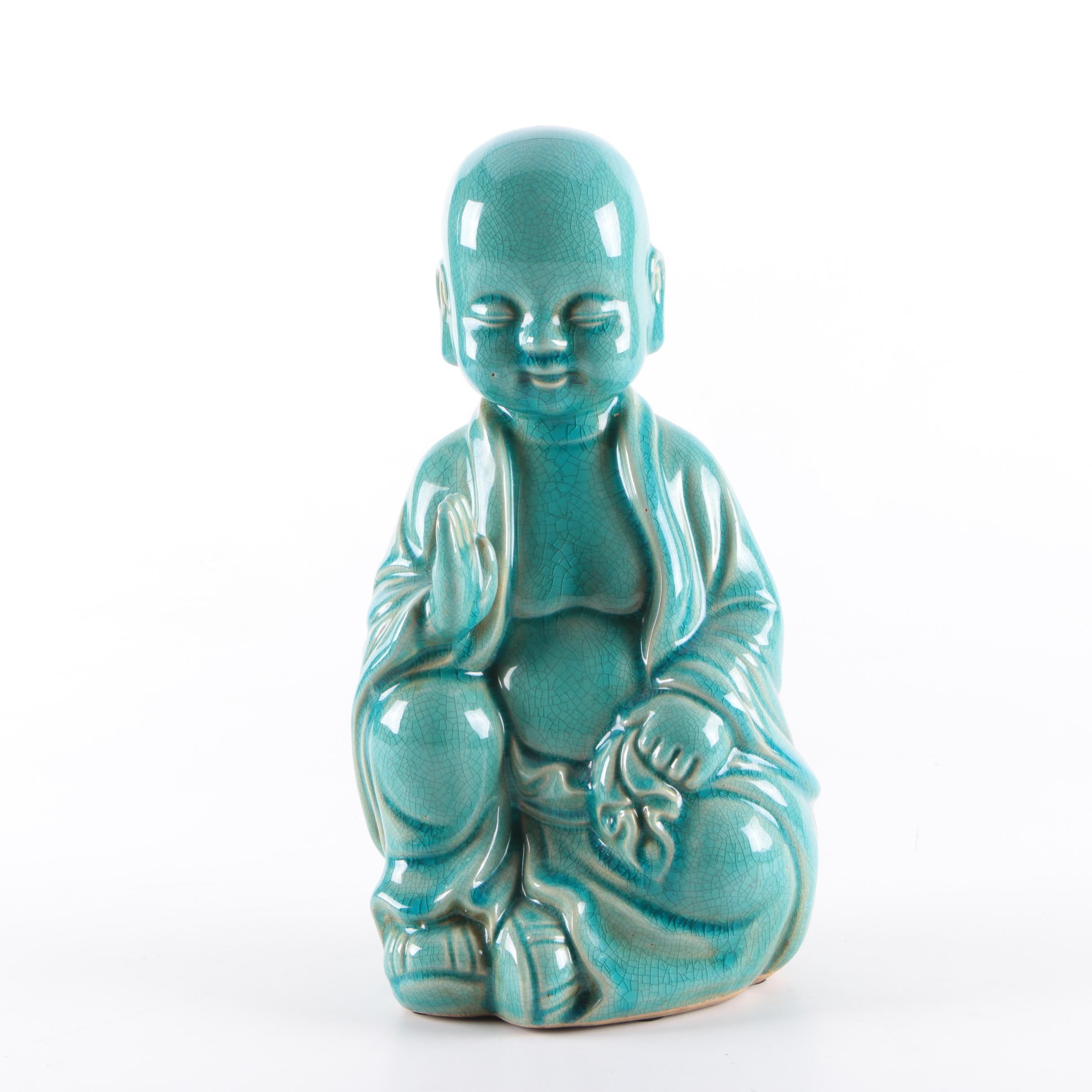 Green Ceramic Young Buddha Figurine