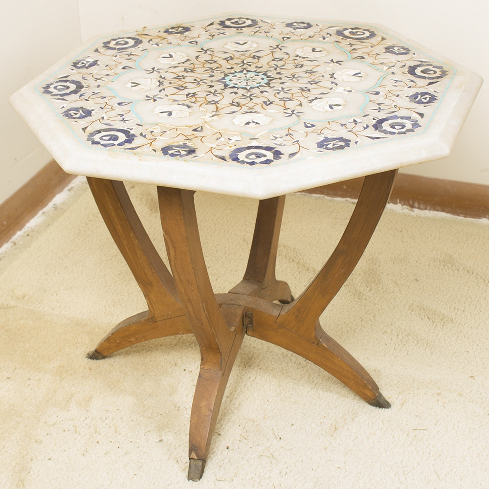 East Indian Inlaid Marble Table Top on Teak Base
