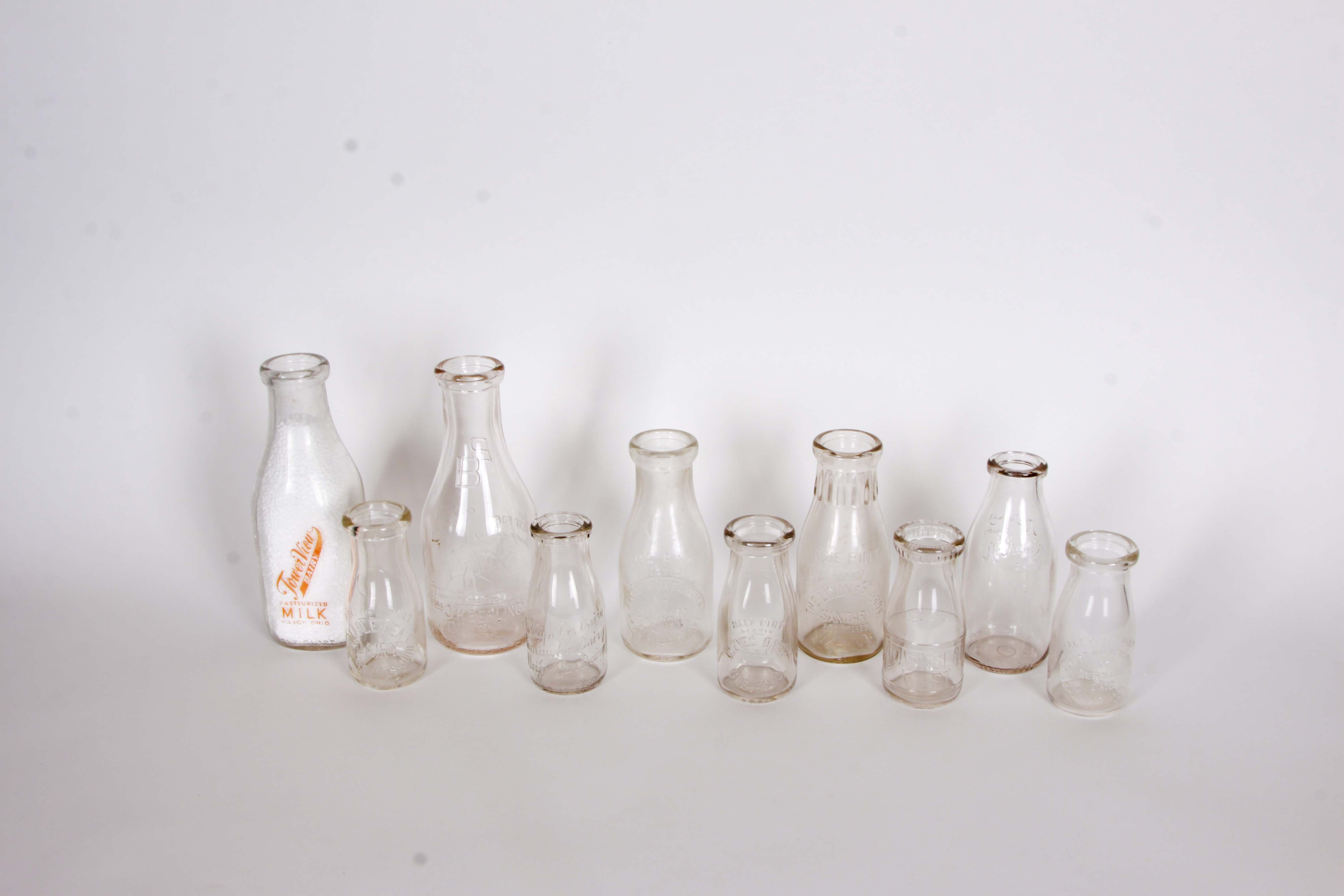 Collection of Vintage Southern Ohio Milk Bottles