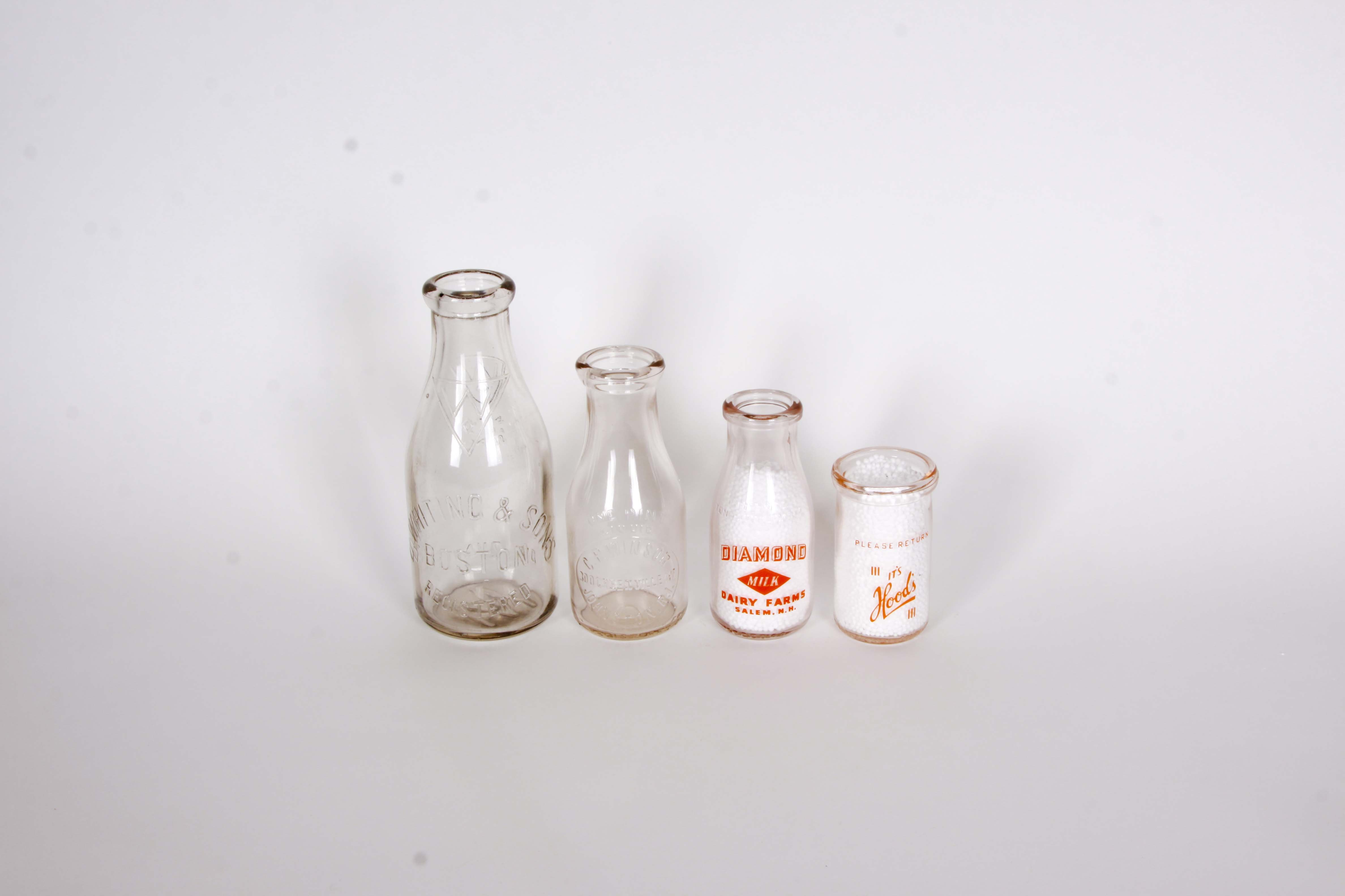 A Group of Vintage New Hampshire, Rhode Island and Boston, MA Milk Bottles