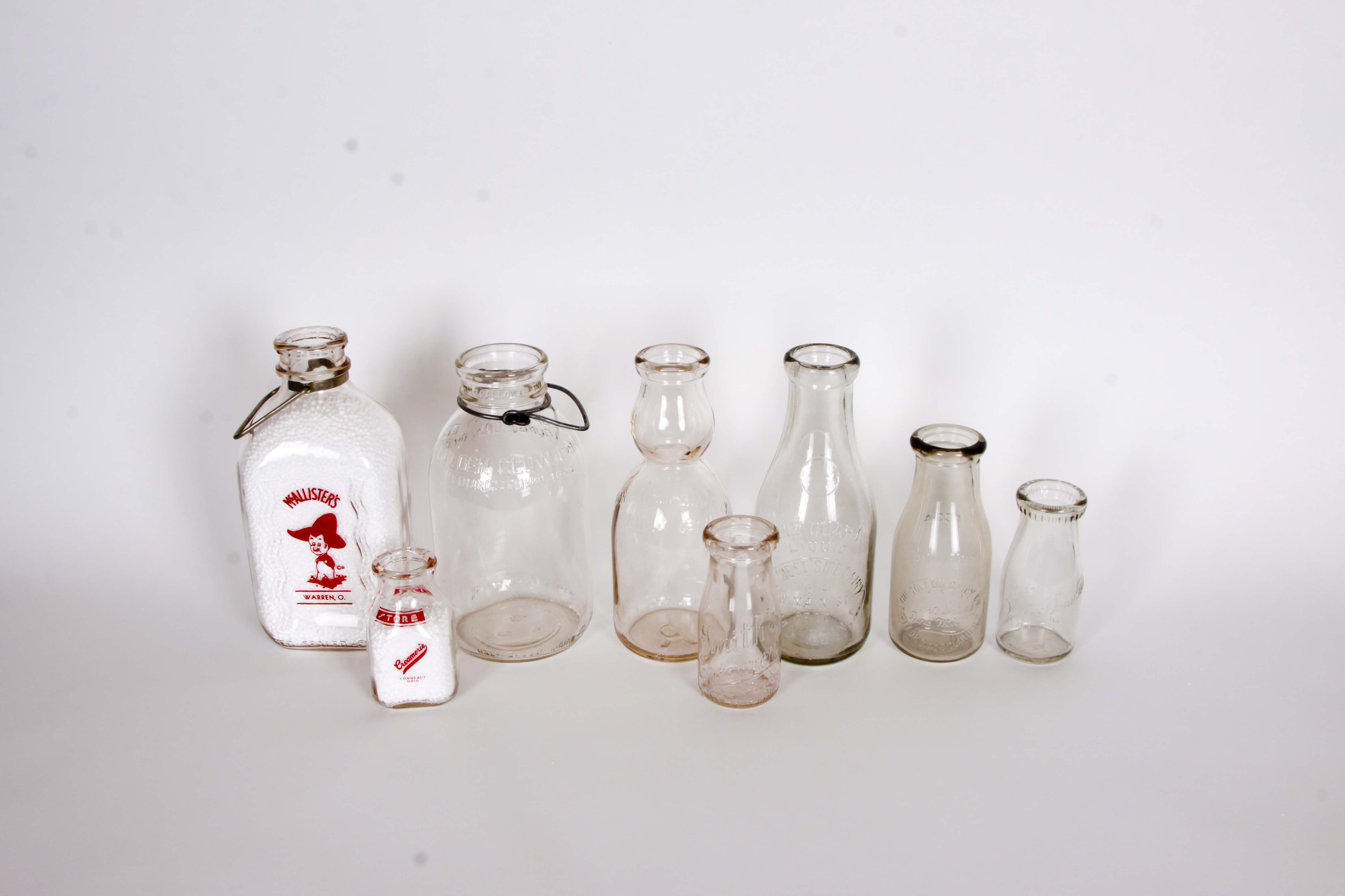 Collection of Vintage Northern Ohio Milk Bottles