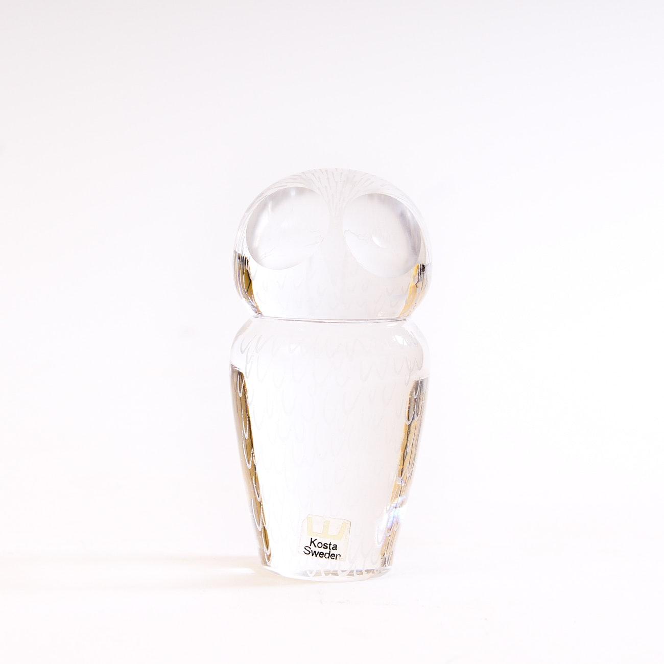 Signed Kosta Boda Art Glass Owl  Paperweight