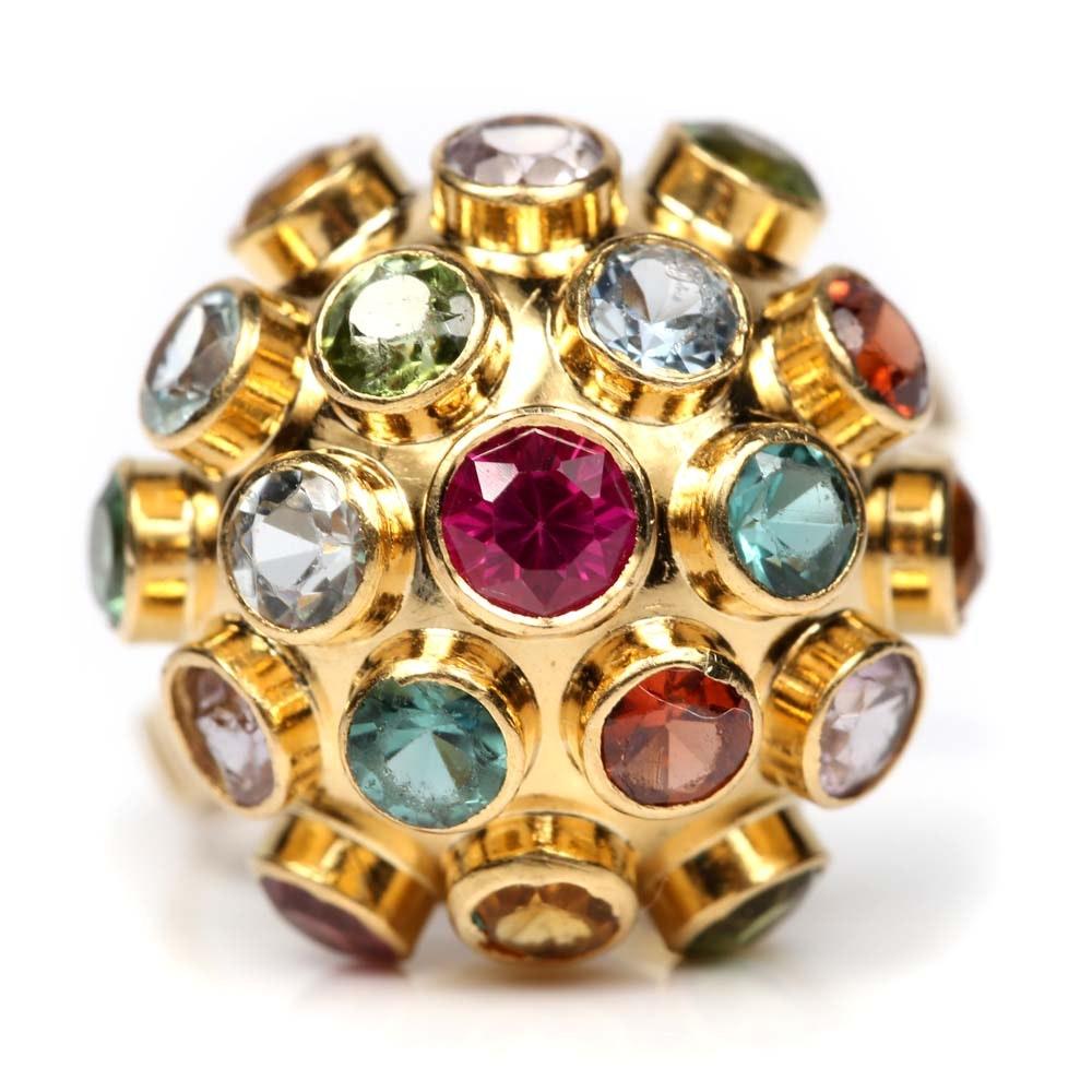 "H. Stern 18K Yellow Gold Multi-Gemstone ""Sputnik"" Dome Ring"
