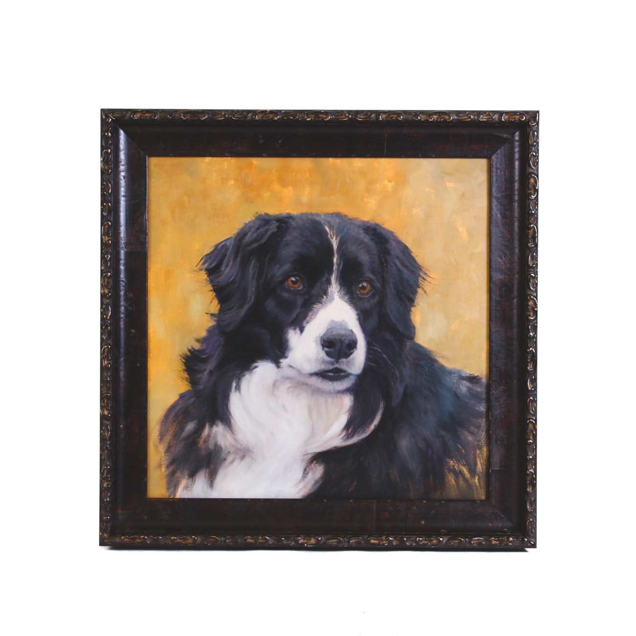 Contemporary Oil Painting of Bernese Mountain Dog