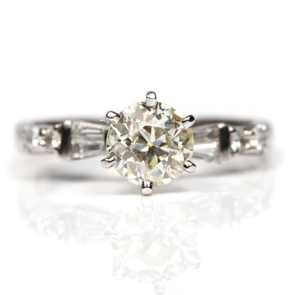 Platinum Old European Cut Diamond Ring