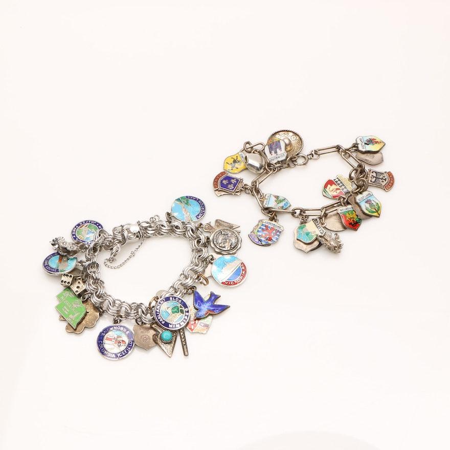 Sterling Silver Travel Charm Bracelets