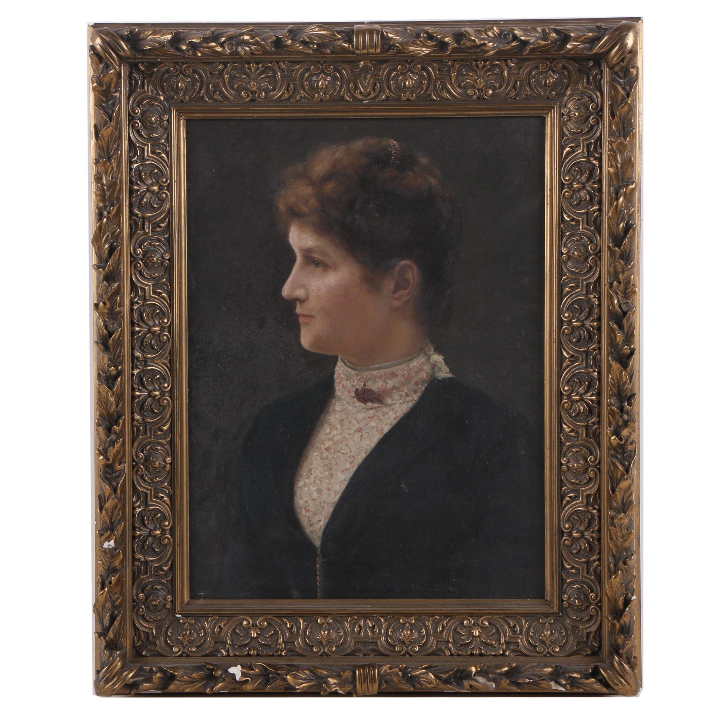 Antique 1889 Oil Painting of a Woman's Portrait