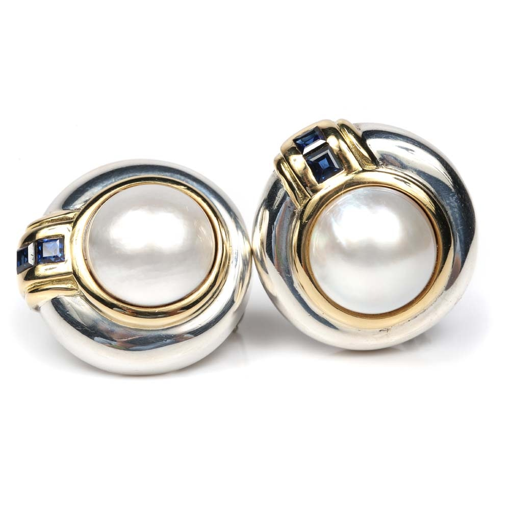Tiffany & Co. Sterling Silver, 18K Yellow Gold, Mabe Pearl and Sapphire Earrings