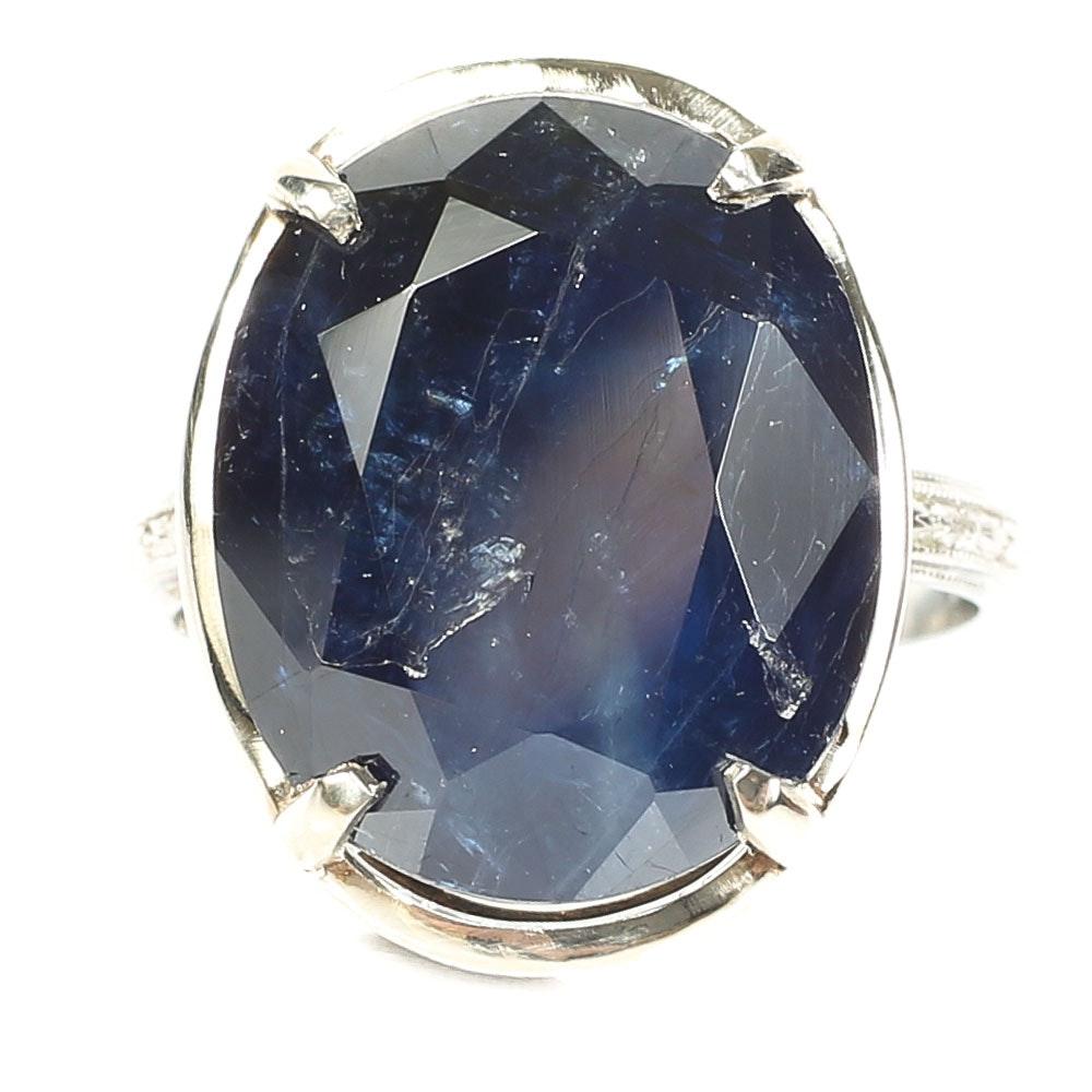 Platinum 13.86 CT Sapphire Ring