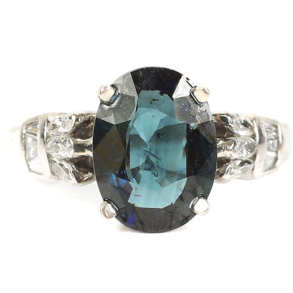 Platinum 3.10 CT Sapphire and Diamond Ring