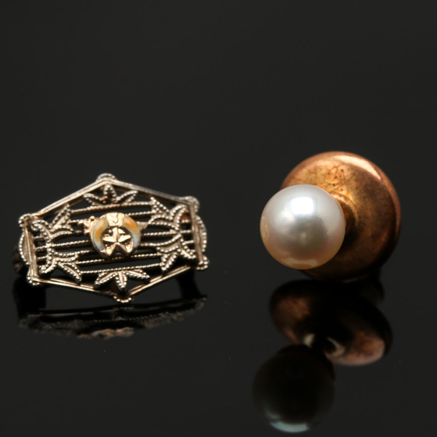6ee28a0f2e8 10K Yellow Gold Cultured Pearl Pin and 14K White Gold Masonic Tie Tack ...