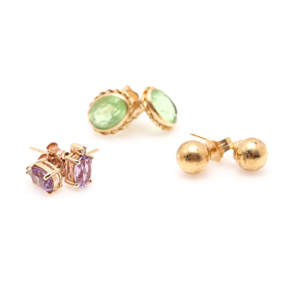14K Yellow Gold Stud Earring Set Featuring Amethyst and Diamond