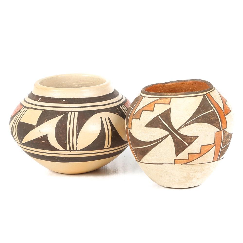 Pair of Vintage Native American Pottery Jars
