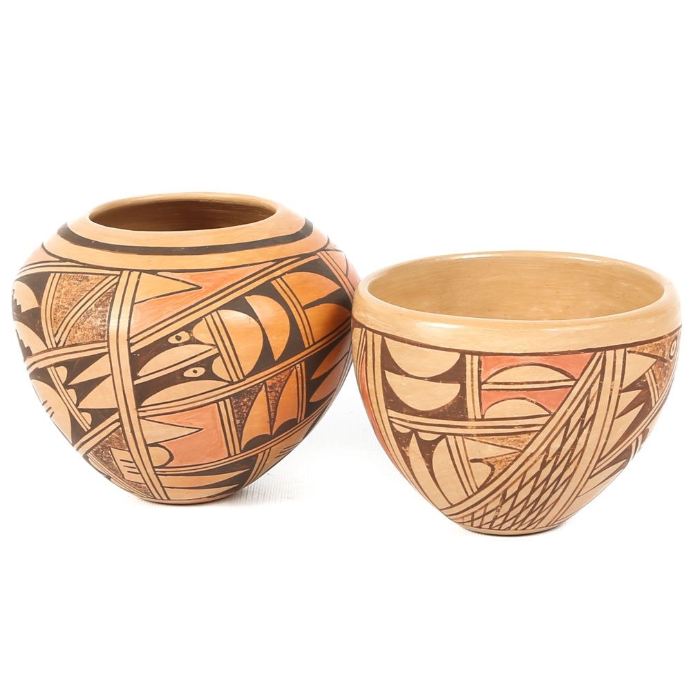 Pair of Signed Charlene Collateta Hopi Pottery Jars