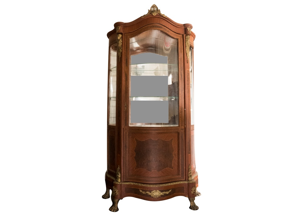Vintage Louis XIV Style Vitrine Display Cabinet