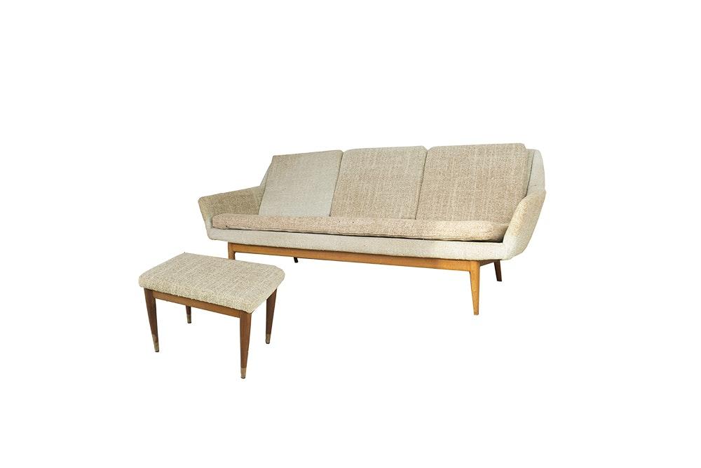 Vintage Mid Century Modern Sofa With Footstool