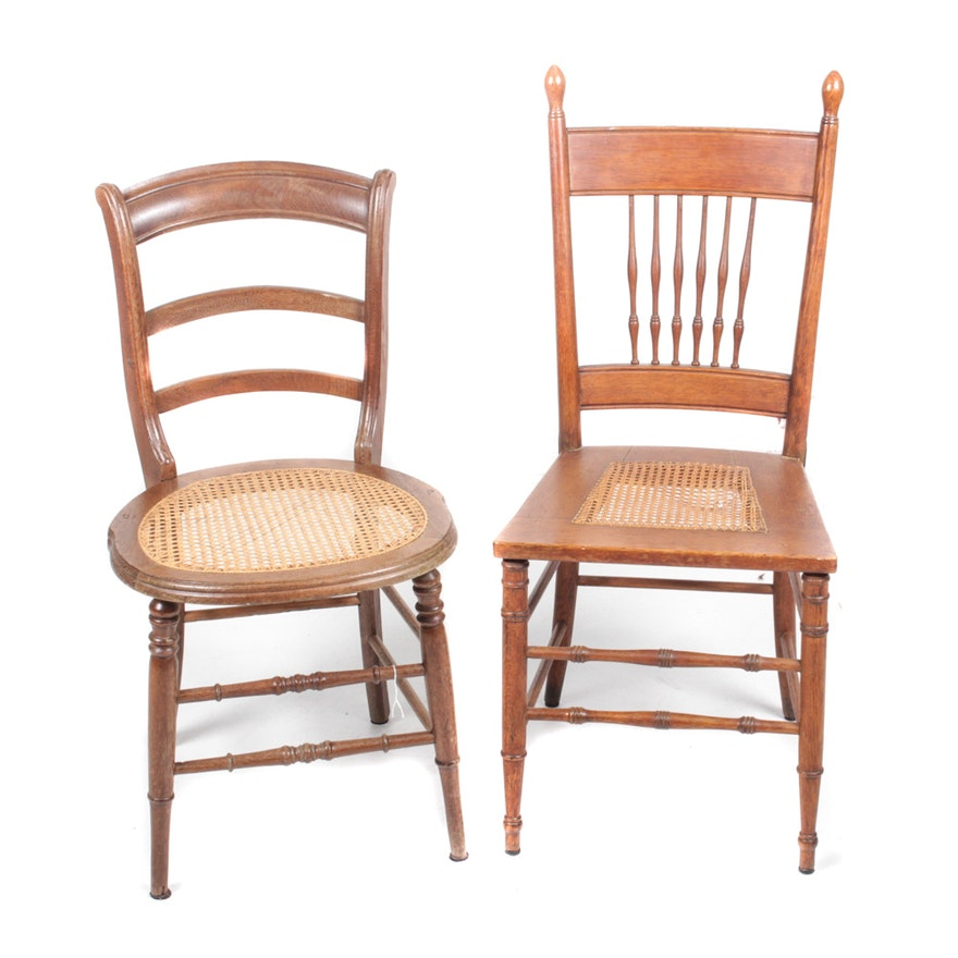 Two Antique Chairs with Cane Seats ... - Two Antique Chairs With Cane Seats : EBTH