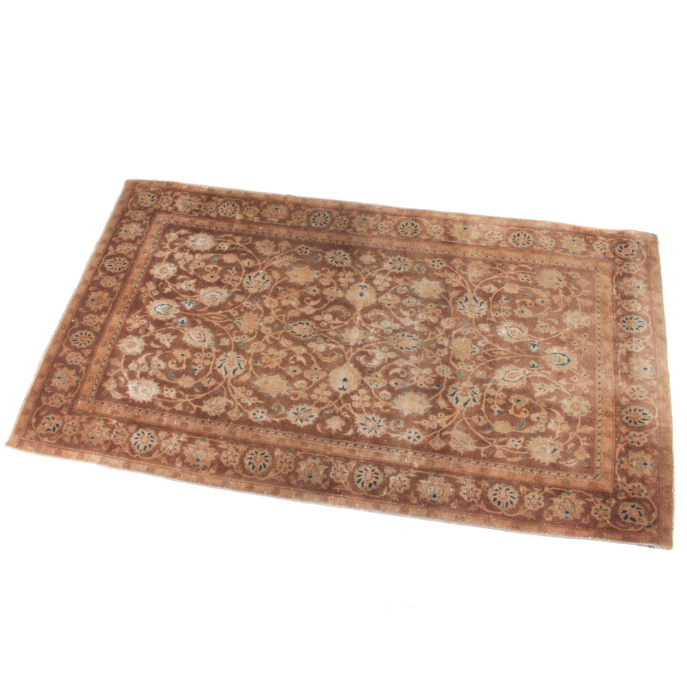 Semi-Antique Hand-Knotted Persian Kashan Rug