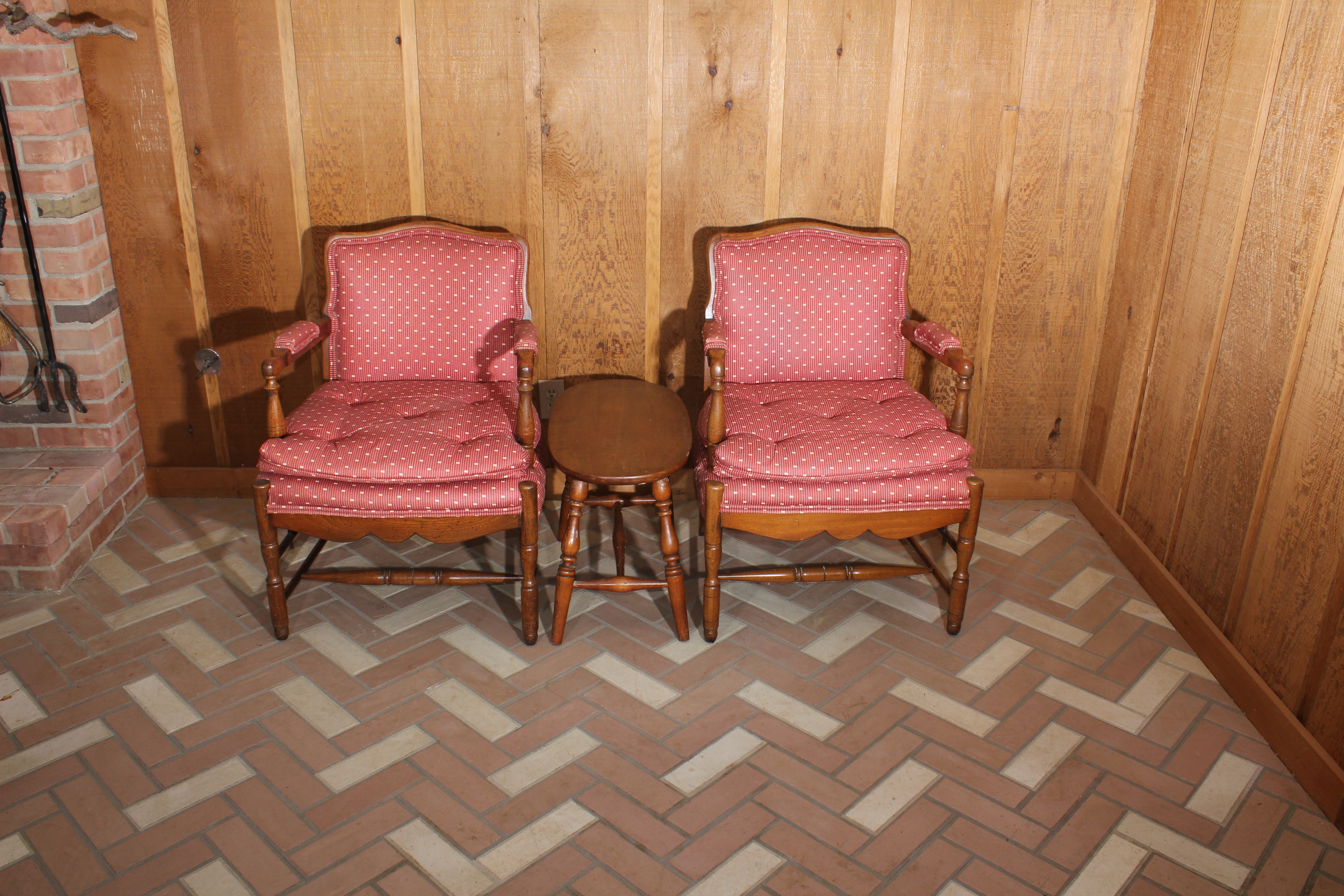 Pair of Vintage Tufted Upholstered Armchairs and Side Table