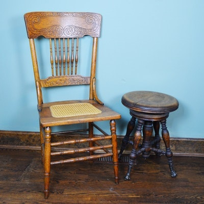 Vintage Cane Seat Chair and Swivel Stool