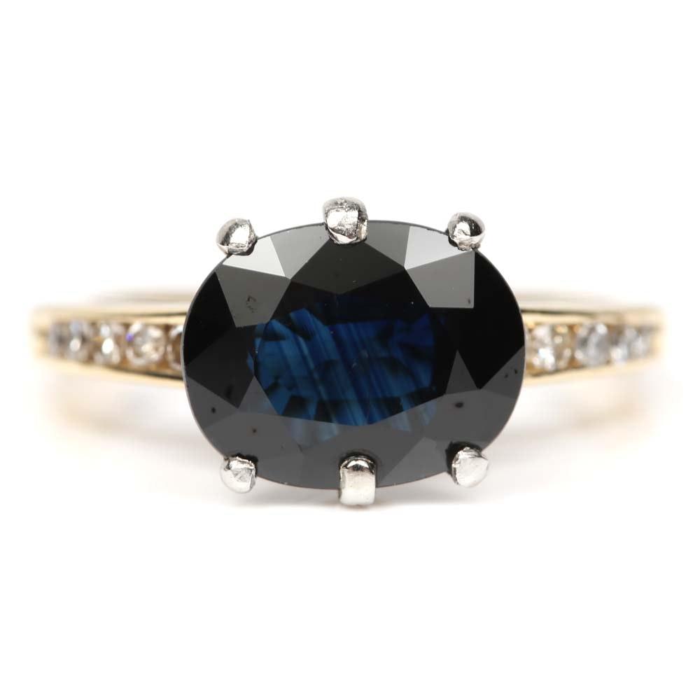 18K Yellow Gold 2.76 CT Sapphire and Diamond Ring