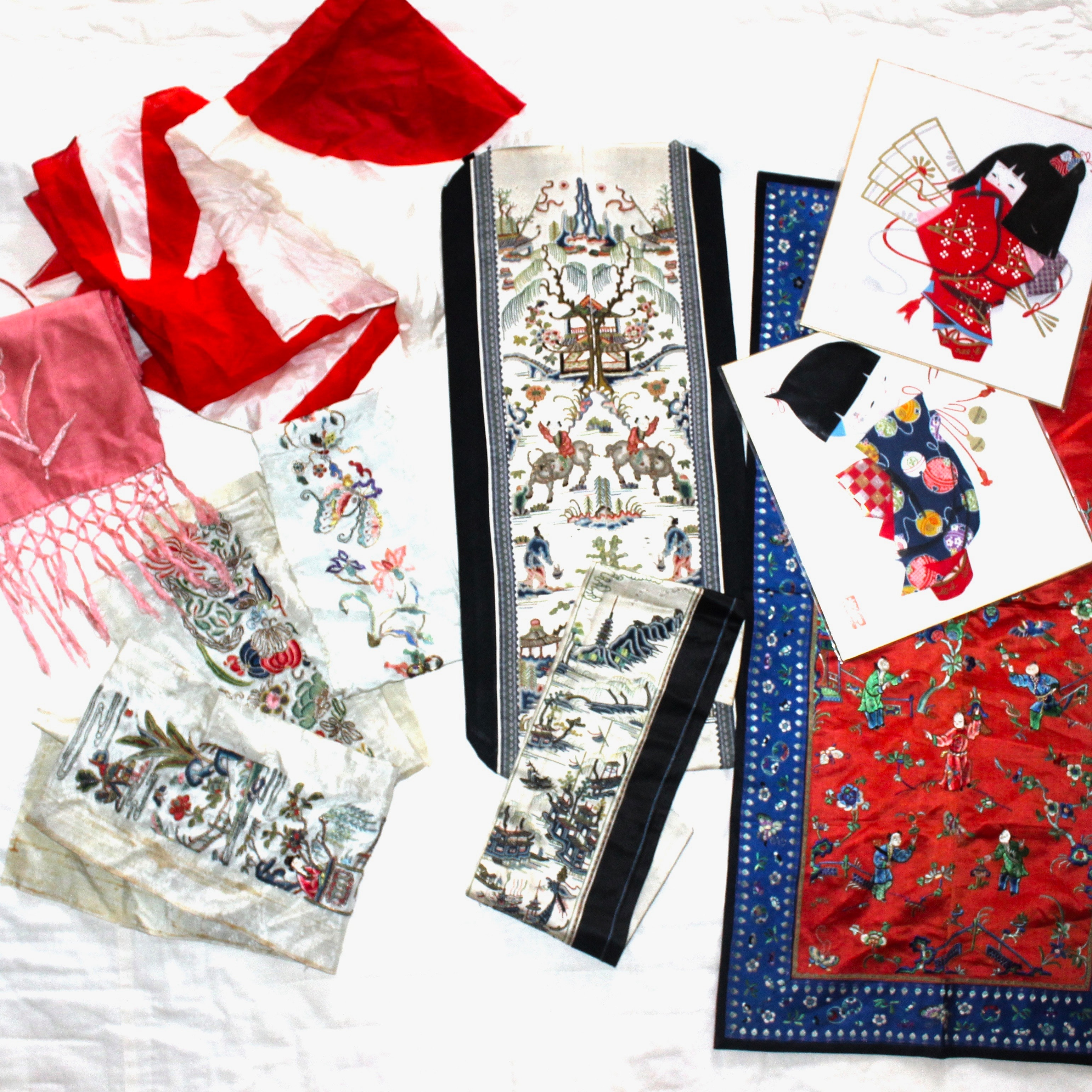 East Asian Hand Embroidered Silk Pieces
