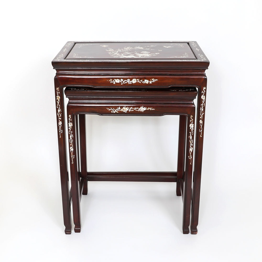 Genial Chinese Inlaid Wood Stacking Side Tables ...