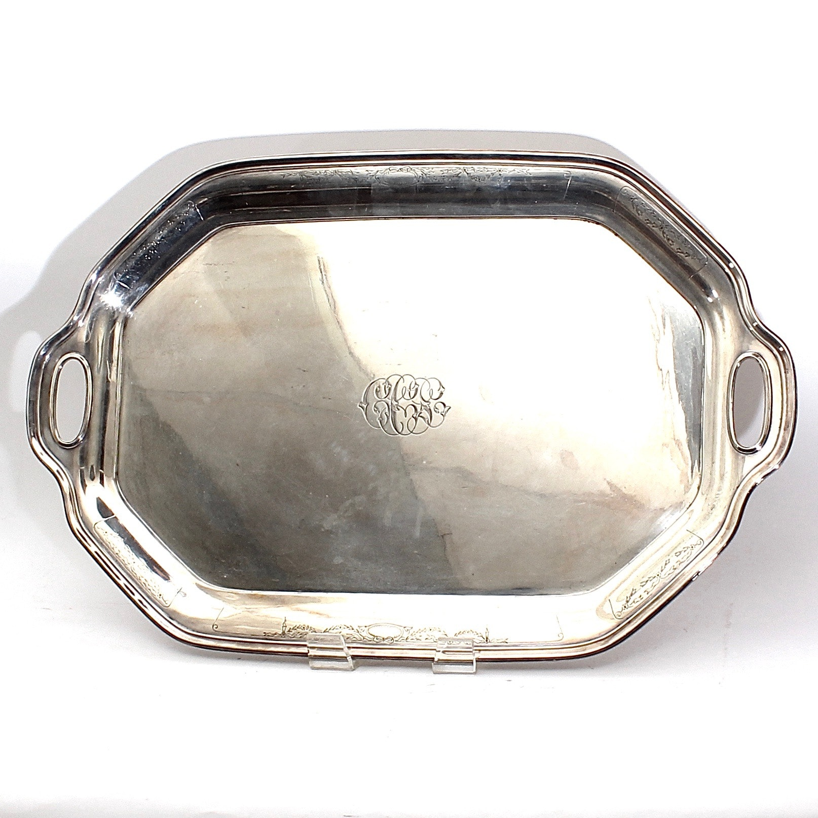 Sterling Silver Monogrammed Handled Tray