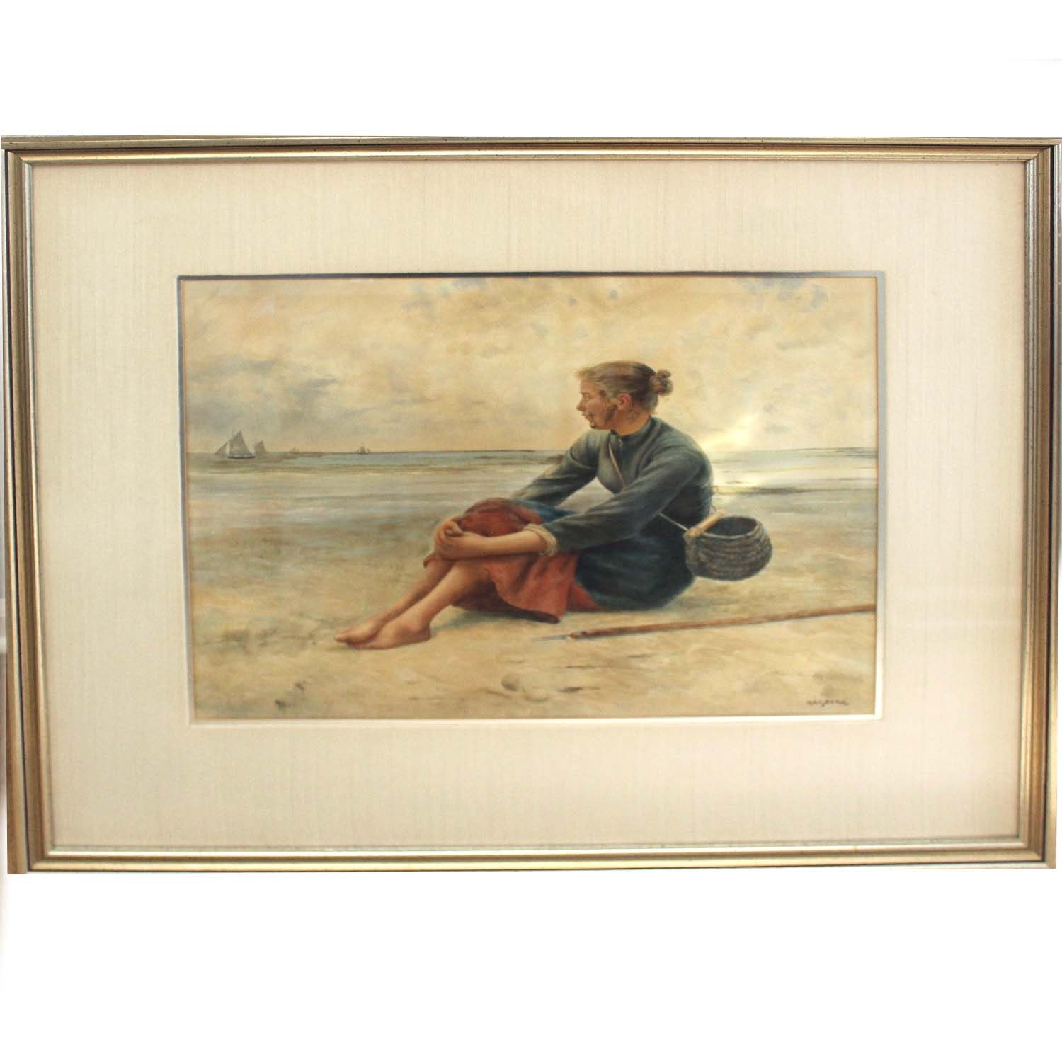 """August Hagborg Lithograph """"Fisherwoman at Rest"""""""