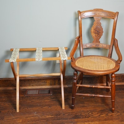 Victorian Cane Seat Chair and Luggage Rack