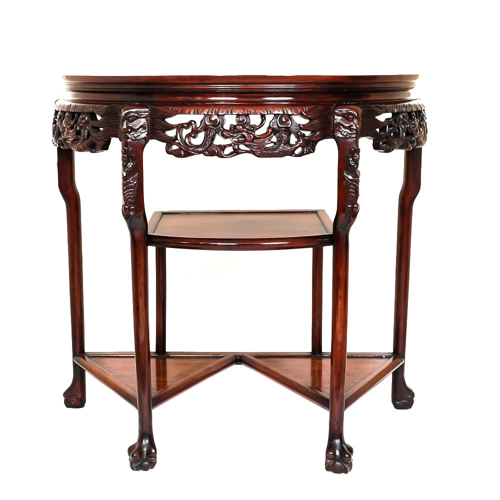 Vintage Chinese Half Moon Accent Table ...