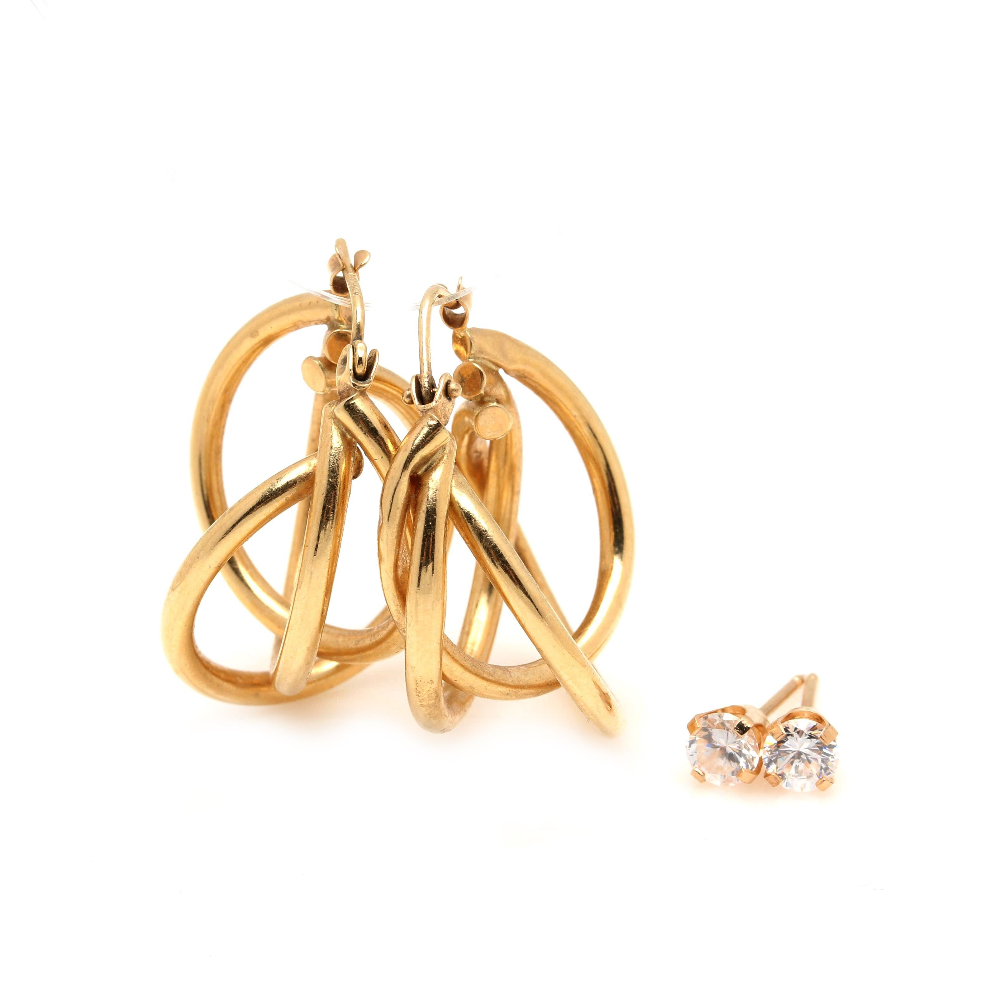 10K and 14K Yellow Gold Earrings