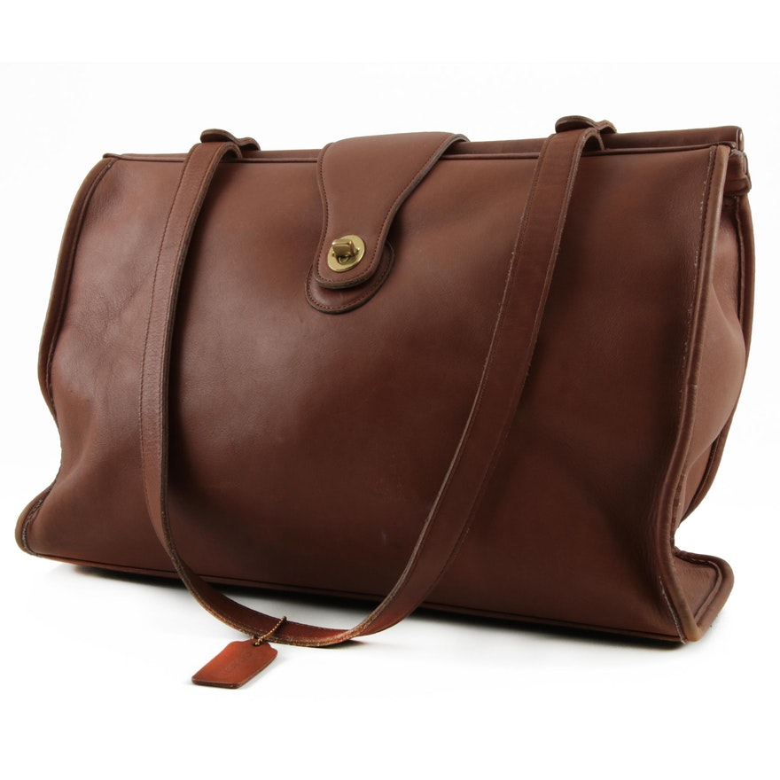 a353dec63370 Vintage Coach Barclay Brown Leather Tote   EBTH